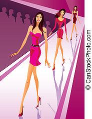 Modemodelle zeigen neue Kleider