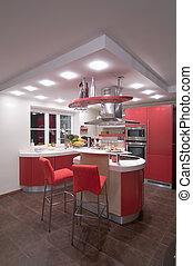 modern, rotes , kitchen.
