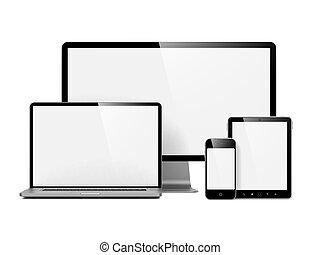 Moderne elektronische Geräte isoliert auf weiß.