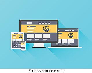 Moderne flache Abbildung der Website.