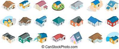 Moderne Haus Ikone Set, isometrische Stil
