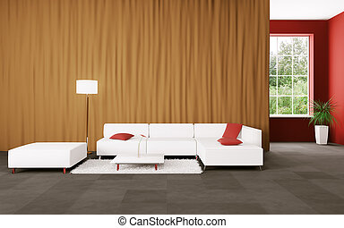 Moderne Innenausstattung mit Sofa 3d-Stück