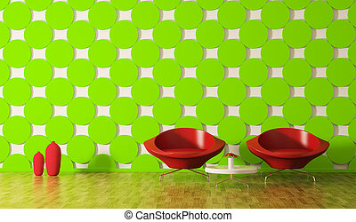Moderne Innenausstattung von Zimmer 3d