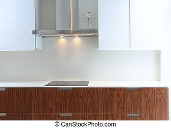 Moderne Küche in weißem und Walnussholz