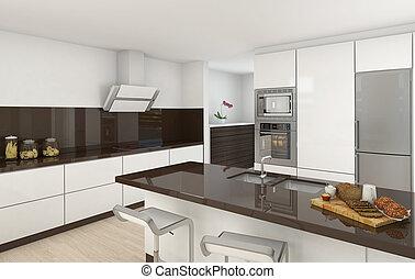 Moderne Küche, weiß und braun