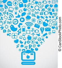 Moderne soziale Medieninhalte gehen an den Computer