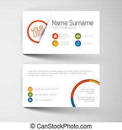 Moderne Visitenkartenvorlage mit flacher Benutzeroberfläche.