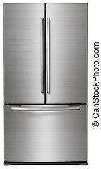 Moderner Kühlschrank isoliert auf weiß