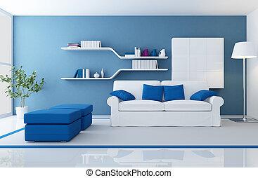 Modernes blaues Innere