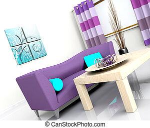 Modernes Innere und Sofa