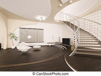 Modernes Interieur des Wohnzimmers 3D Render.
