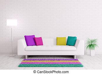 Modernes Interieur mit Sofa 3d Render.