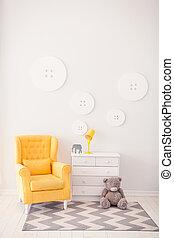 Modernes Interieur mit weißen und gelben Farben. Gelber, weicher Sessel, weißes Bett. Komfortstuhl. Sessel mit Stoffpolster