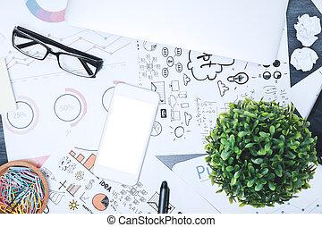 Modernes, unschönes Schreibtischtop