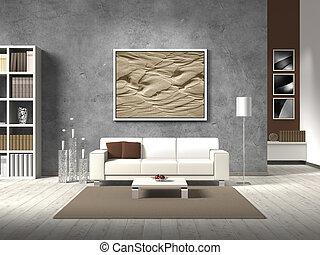 Modernes Wohnzimmer in natürlichen Farben.