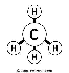 molekül, icon., methan