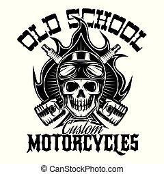 Monochrommuster im klassischen Stil auf Motorrad-Themen mit Schädel und Feuer im Hintergrund.