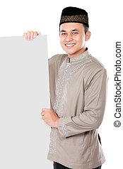 moslem, brett, besitz, leer, lächelnden mann, asiatisch