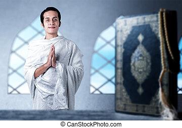 moslem, stehende , gruß, asiatisch, kleidung, mann, gebärde, ihram