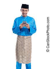 moslem, tragen, koko, asiatisch, melayu, beweglich, mann, telefon