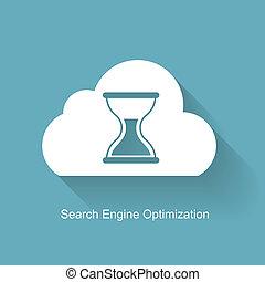 motor, wohnung, durchsuchung, optimization, -, abbildung, vektor, seo, ikone