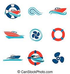 Motorboot Icons eingestellt.
