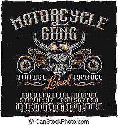 Motorrad-Gang-Label-Typen-Poster.