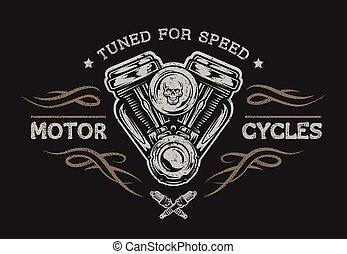 motorrad, style., motor, weinlese