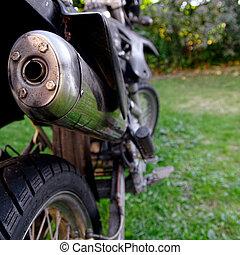 Motorradabgas-Verschluss.