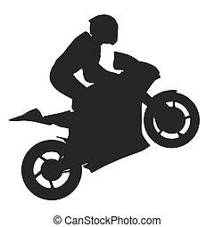 Motorradfahrer hebt das Vorderrad. Vector Silhouette