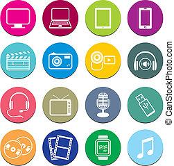 Multi-media-Runde Icon-Sets.