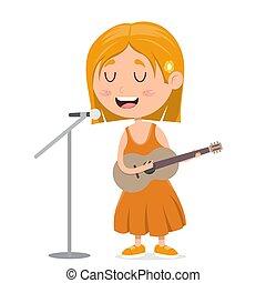 musik, karikatur, kleines mädchen, gitarre, abbildung, spielende , kind, singende, vektor, leistung