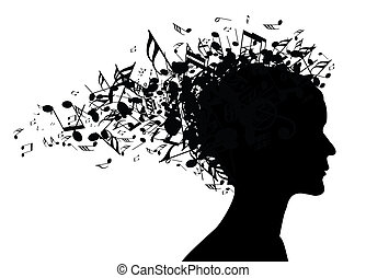 Musikfrau, Porträtsilhouette