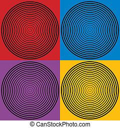 muster, 4, kreis, design, farben