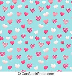 muster, valentines, seamless, vektor, hearts., hintergrund, tag, glücklich