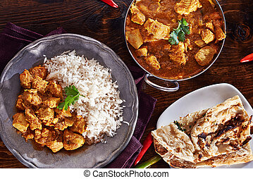naan, basmati, tellergericht, balti, indische , reis, curry, mahlzeit