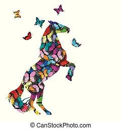 nachgebildet, vlinders, pferd, abbildung, bunte