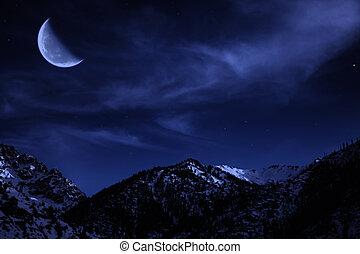 nacht, berg, winterlandschaft