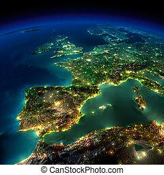 Nacht Erde. Ein Stück Europe - Span, portugal, france