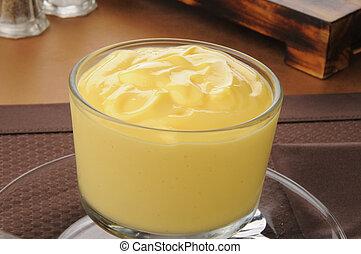nachtisch, vanille, pudding, becher