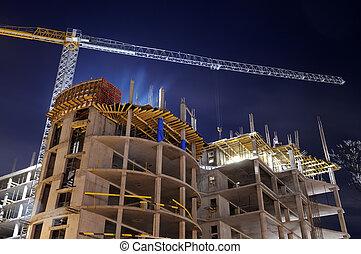Nachts Baustelle bauen