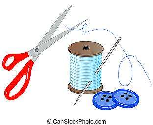 Nadelfädenschere und Knöpfe - Nähzeug - Vektor