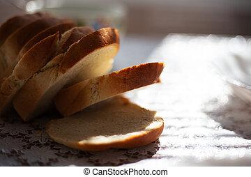 nahaufnahme, tisch, bread, kitchen.