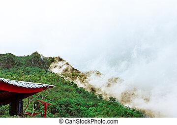 nebel, chinesische pagode, schöne , berge