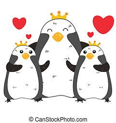 Nette Pinguin-Familie.