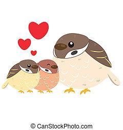 Nette Sparrow-Familie.