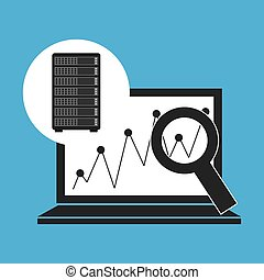 Network Server Konzept Laptop-Grafiksuche.