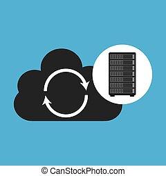 Netzwerk-Server-Konzept Cloud Backup Wiederherstellung.