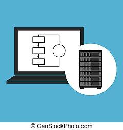 Netzwerkserver-Konzept Laptop-Daten.