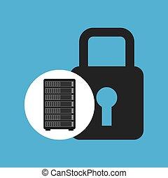 Netzwerkserver-Konzept Sicherheitsschloss-Grafik.